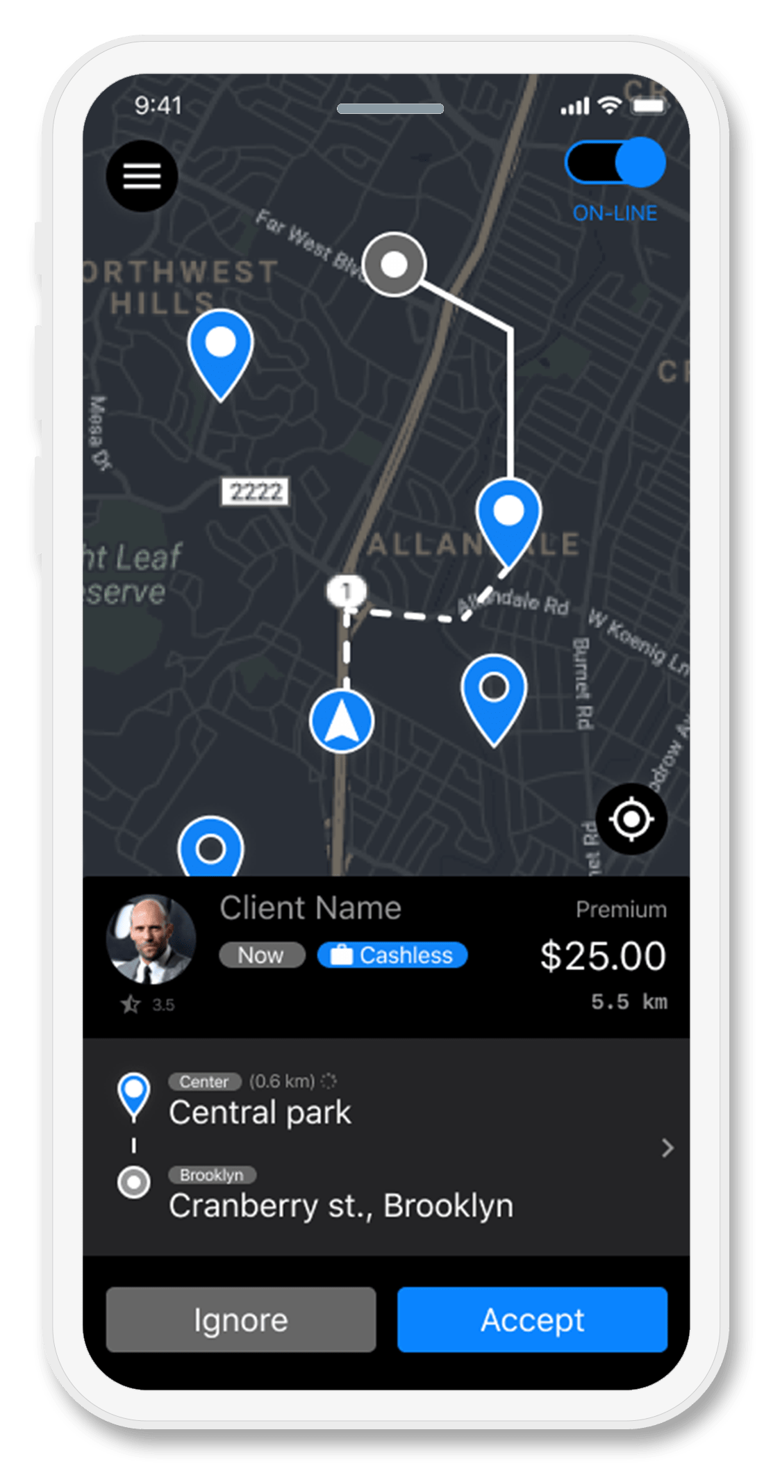 Приложение для водителя такси